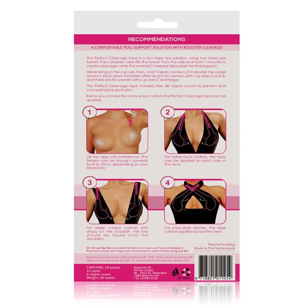 2ed3051c548 Bye Bra Perfect Cleavage Tape for cup size A-F. Bye Bra redefines the use  of adhesive breast lift for wearing deep V neck clothes   cross strap